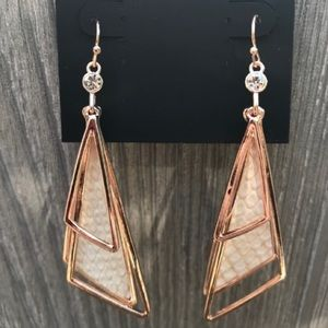 New Rose Gold Tone Cream Earrings by Guess